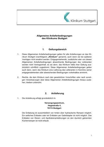 Allgemeine Anliefer- bedingungen - Klinikum Stuttgart