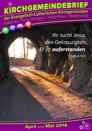 ❀ Kirchgemeindebrief April-Mai 2014