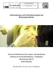 Verhalten nach Eingriffen an der Nase und ... - des Klinikums