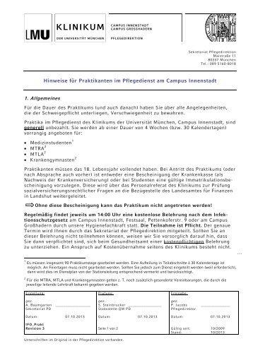 Hinweise für Praktikanten im Pflegedienst am ... - des Klinikums