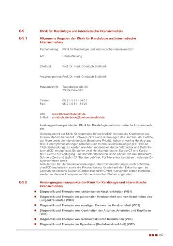 B-9 Klinik für Kardiologie und internistische Intensivmedizin B-9.1 ...