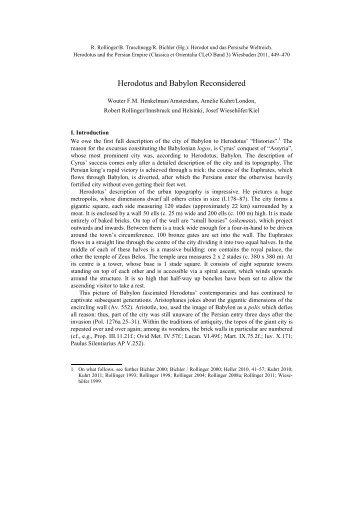 Herodotus and Babylon Reconsidered - Achemenet