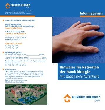 Hinweise für Patienten der Handchirurgie - Klinikum Chemnitz