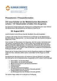 233 neue Schüler an der Berufsfachschule des Chemnitzer Klinikums