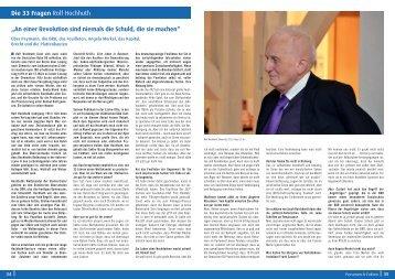 Die 33 Fragen Rolf Hochhuth - Klinikum Chemnitz