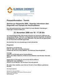 Download der Presseinformation ( 38 KB PDF Format ) - Klinikum ...