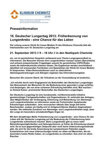 Presseinformation 16. Deutscher Lungentag 2013: Früherkennung ...