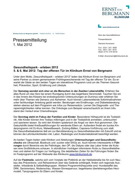 Pressemitteilung - Ernst von Bergmann