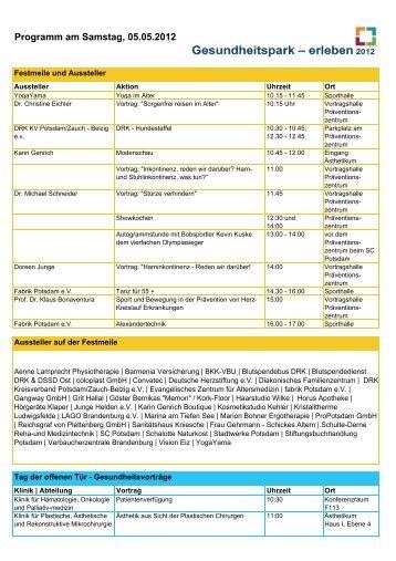 Programm am Samstag, 05.05.2012 - Ernst von Bergmann