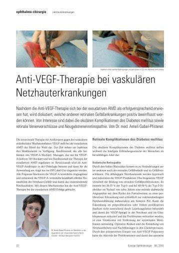 Anti-VEGF-Therapie bei vaskulären Netzhauterkrankungen