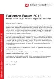 A5 Patientenforum Daecke II.indd - Klinikum Frankfurt Höchst