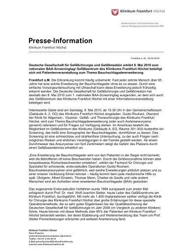 Presse-Information - Klinikum Frankfurt Höchst