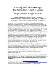 Creating Pure Vision through the Realization of the Six Lamps