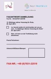 FAX-NR.: +49 (0)7031-22519 - Klinikverbund Südwest GmbH