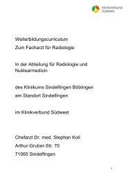 Weiterbildungscurriculum Zum Facharzt für Radiologie In der ...
