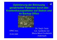 Sanjiv Sarin - Fachgruppe Klinische Pharmazie