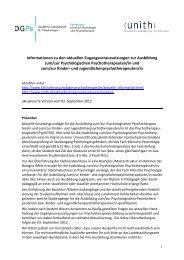 FAQs Zugangsvoraussetzungen Psychotherapie - Unith
