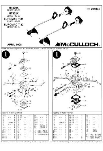 Mcculloch Mt 250 Cls Manual