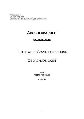 Qualitative Sozialforschung - Obdachlosigkeit ... - klöckler.at