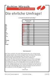 Die ehrliche Umfrage! - Achim Hirsch Prozessmanagement