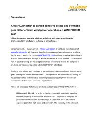 Klüber Lubrication to exhibit adhesive grease and synthetic gear oil ...