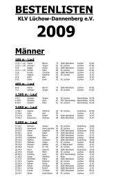 Kreisbestenliste 2009 - KLV Lüchow-Dannenberg eV
