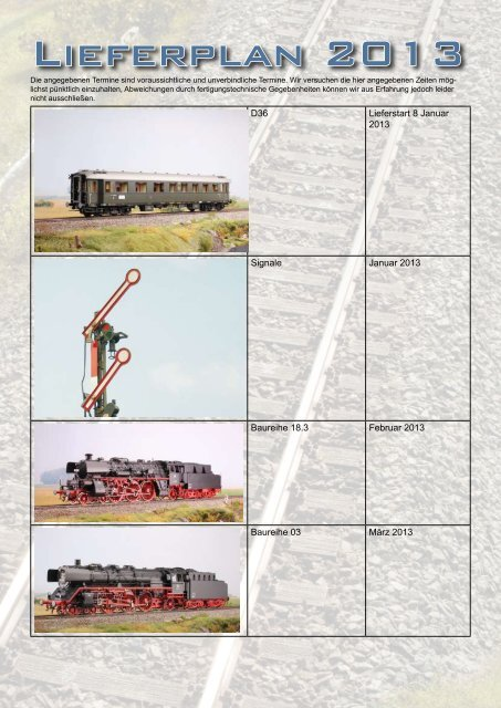 Lieferplan 2013