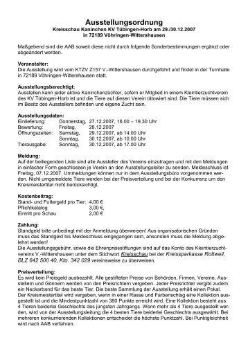 Ausstellungsordnung - Kleintierzuchtverein Dornhan e.V.