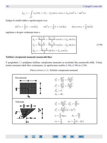 26 1 Upogib z osno silo ∫ η ζ dAx = (Iz − Iy) sinα cosα + I ... - FGG-KM