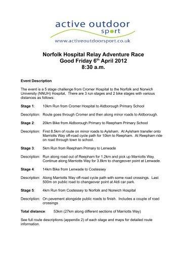Norfolk Hospital Relay Adventure Race Good ... - Active Outdoor Sport