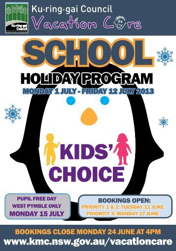 July school holiday program - Ku-ring-gai Council