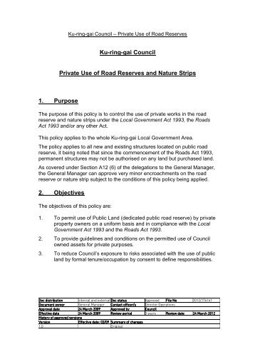 Application for Private Use of Road Reserves and Nature Strips