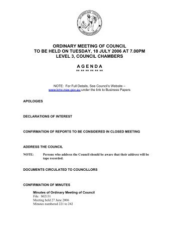 ordinary meeting of council to be held on tuesday, 18 july 2006
