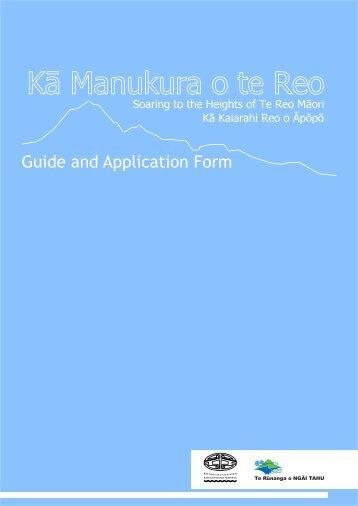 Kā Manukura o te Reo - Application Form - Kotahi Mano Kaika