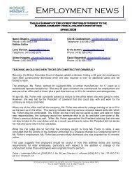 Employment News, Spring 2008 - Koskie Minsky LLP