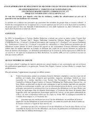 avis d'approbation du règlement du recours collectif ... - CEDROM-SNi