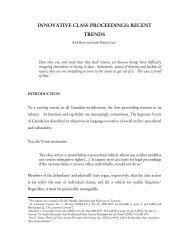 Innovative Class Proceedings - Recent Trends - Koskie Minsky LLP