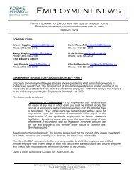 Employment News, Spring 2009 - Koskie Minsky LLP