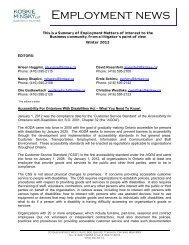Employment News, Winter 2012 - Koskie Minsky LLP