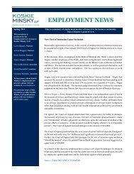Employment News, Spring 2012 - Koskie Minsky LLP
