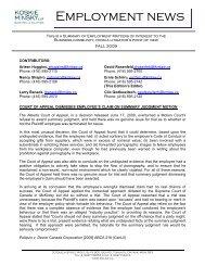Employment News, Fall 2009 - Koskie Minsky LLP