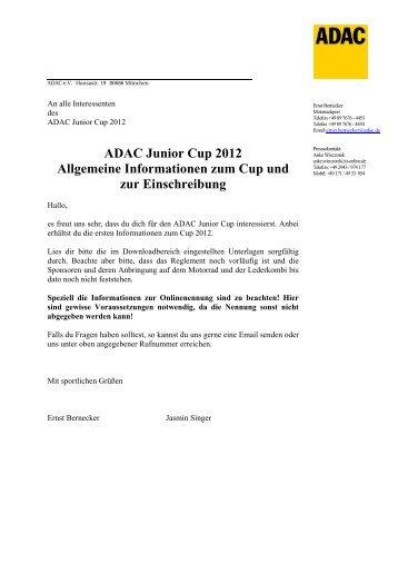 ADAC Junior Cup 2012 Allgemeine ... - ADAC Motorsport