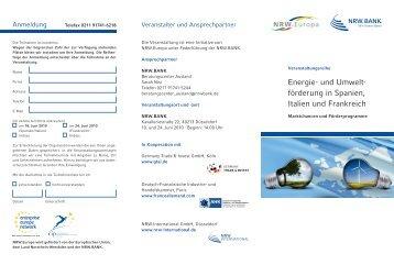 Energie- und Umwelt- förderung in Spanien, Italien und Frankreich