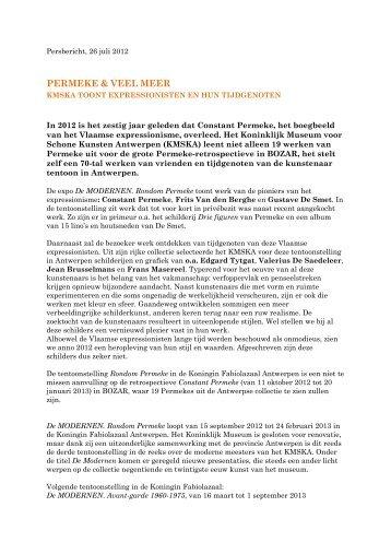 Persbericht, 26 juli 2012 - Koninklijk Museum voor Schone Kunsten ...