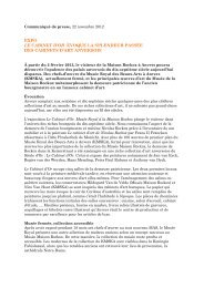 Communiqué de presse, 22 novembre 2012