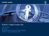 Kuehne + Nagel Investor Day