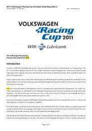 2011 VW Racing Cup Championship Regulations – Approved - Knaf