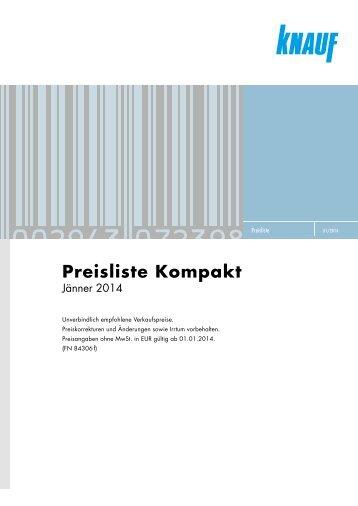 Knauf Preisliste Kompakt, Jänner 2014 2869 KB - Knauf Österreich