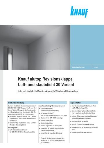 knauf alutop revisionsklappen revo f30 und f90 wand e125. Black Bedroom Furniture Sets. Home Design Ideas