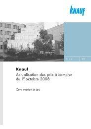 Knauf Actualisation des prix à compter du 1er octobre 2008 - Knauf AG